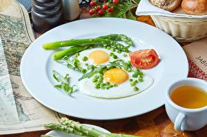 Обои Тарелка Яичница Завтрак Еда картинки