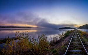 Фотографии Речка Железные дороги Осенние Рельсы Ветвь Природа