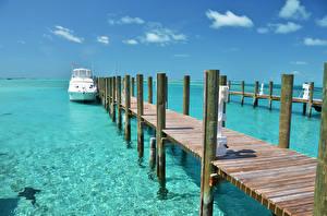 Картинка Море Пирсы Bahamas Природа