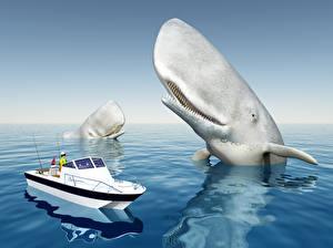 Обои Море Корабли Катера Киты 3D Графика