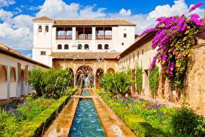 Обои для рабочего стола Испания Здания Фонтаны Бугенвиллея Дворец Кустов Alhambra de Granada город