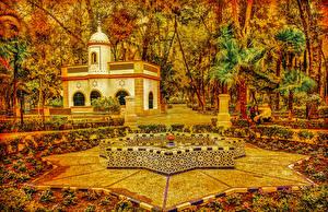 Фото Испания Парки Осень Дома Фонтаны Дизайн Пальмы Деревья Seville Maria Luisa Park Природа