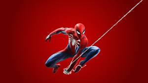 Обои Человек паук герой Красном фоне 2018 ps4 Игры