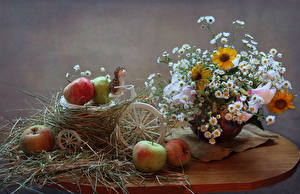 Фото Натюрморт Букеты Ромашка Яблоки Ежики Стол Корзины цветок Еда