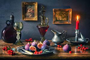 Картинки Натюрморт Картина Свечи Вино Инжир Ягоды Бокалы Бутылка Кувшины Еда