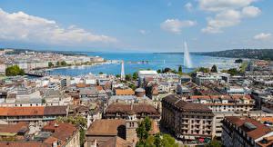 Фото Швейцария Здания Пирсы Крыша Geneva
