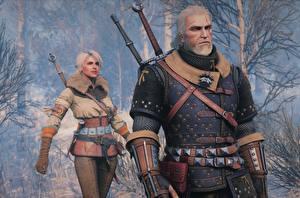 Картинка The Witcher 3: Wild Hunt Геральт из Ривии Воители Ciri Игры Девушки