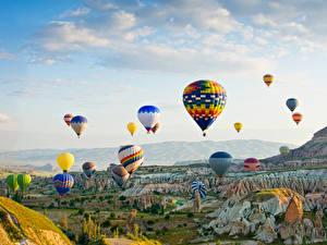 Фотография Турция Парки Аэростат Утес Goreme national park Природа