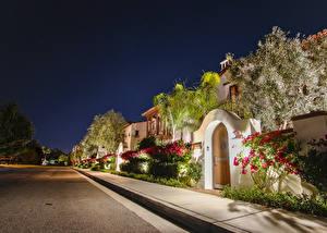 Фотографии Америка Дома Анахайм Улица Кусты В ночи