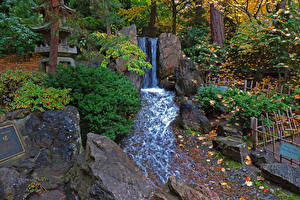 Картинки Штаты Парки Водопады Осенние Камень Вашингтон Листва Spokane Japanese Garden Природа