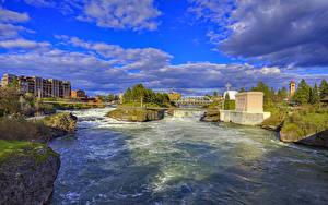 Фотографии Штаты Реки Мост Небо Облака Spokane River город