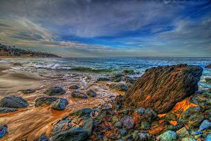 Фотография Америка Море Берег Камень Пейзаж Волны Калифорния HDR Laguna Beach Природа