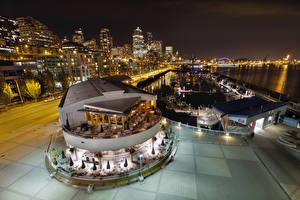 Картинки США Сиэтл Дома Реки Причалы Вечер Вашингтон Улиц Города
