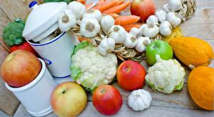 Картинки Овощи Чеснок Яблоки Тыква Пища