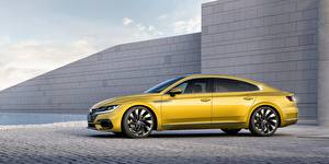 Обои Volkswagen Сбоку Желтый Arteon R line Автомобили картинки