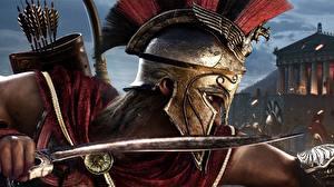 Фотографии Воины Assassin's Creed Assassin's Creed Odyssey Шлем Кинжал Игры