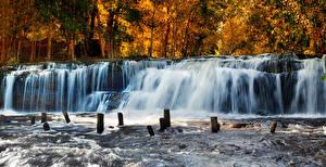 Фото Осенние Водопады Леса Природа