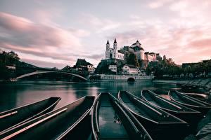 Картинка Лодки Речка Швейцария Canton of Aargau, Aarburg Города