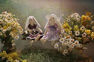 Картинка Букеты Ромашки Львиный зев Кукла Вдвоем цветок