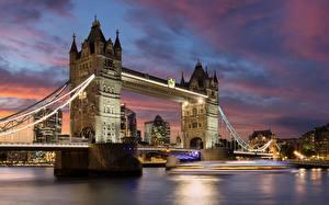 Картинка Мосты Реки Англия Лондон Города