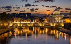 Картинка Мосты Реки Вечер Рим Италия Города
