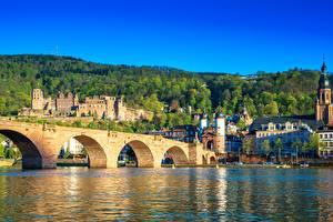 Фотография Мосты Реки Германия Heidelberg, Neckar River, The Karl Theodor Bridge Города