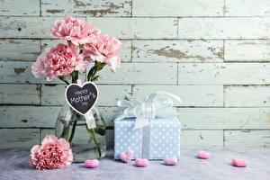 Фотографии Гвоздики Ваза Подарки mother's day Цветы
