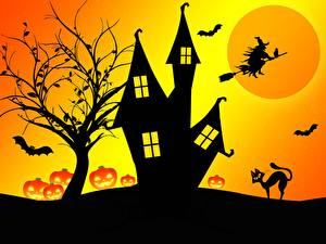 Обои Замки Хэллоуин Ведьма Силуэт