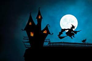 Картинки Замки Хэллоуин Ведьма Силуэт Луна