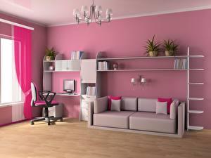 Картинка Детская комната Интерьер Комната Диван 3D Графика