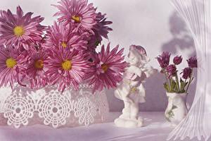 Обои Хризантемы Ваза Розовый