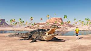 Картинка Берег Крокодилы Мужчины Животные 3D_Графика
