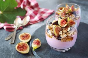 Обои Инжир Йогурт Стакан Завтрак Продукты питания
