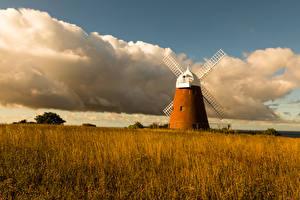 Фотография Англия Осень Поля Мельница Облака Трава Halnaker Windmill Природа