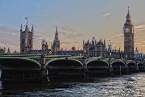 Обои Англия Мосты Лондон Биг-Бен Башня