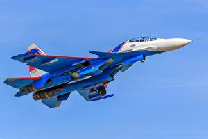 Обои Самолеты Истребители Су-30 Летит Русские Su-30SM Авиация