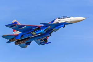 Обои Самолеты Истребители Су-30 Летит Русские Su-30SM