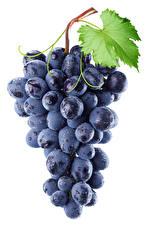 Картинка Виноград Вблизи Белым фоном Продукты питания