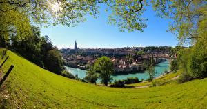 Обои Луга Реки Швейцария Берн Aare River, Brunnadern Города картинки