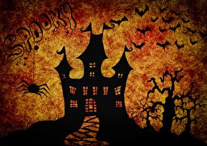 Обои Хэллоуин Замки Летучие мыши Праздники Силуэт