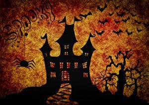 Обои Замки Летучие мыши Праздники Хэллоуин Силуэт