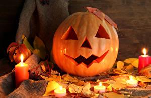 Фотографии Праздники Хеллоуин Тыква Свечи Листва