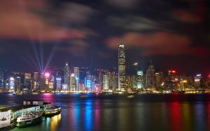 Фото Гонконг Небоскребы Ночные Мегаполис