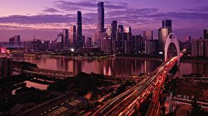 Обои Здания Мост Вечер Китай Речка Мегаполис Guangzhou Города