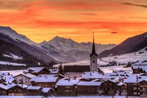 Фото Дома Зима Гора Швейцария Снега Goms, Ulrichen Города