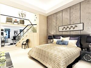 Картинки Интерьер Спальня Дизайн Кровать Подушки 3D Графика