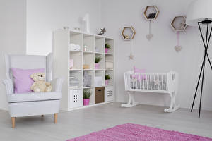 Картинка Интерьер Детская комната Плюшевый мишка Дизайн Кровать Кресло