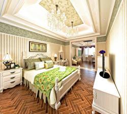 Обои Интерьер Дизайна Спальне Кровать Люстра Ламп 3D Графика