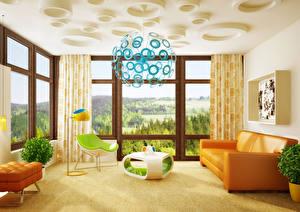Картинки Интерьер Дизайн Гостиная Диван Люстра 3D Графика