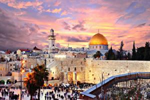 Фотография Израиль Здания Храмы Вечер Уличные фонари Jerusalem